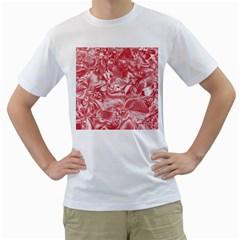 Shimmering Floral Damask Pink Men s T-Shirt (White)
