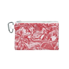 Shimmering Floral Damask Pink Canvas Cosmetic Bag (S)