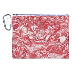 Shimmering Floral Damask Pink Canvas Cosmetic Bag (XXL)