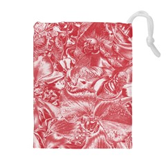 Shimmering Floral Damask Pink Drawstring Pouches (Extra Large)