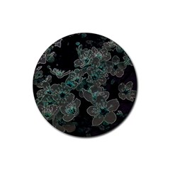 Glowing Flowers In The Dark C Rubber Round Coaster (4 pack)