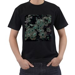 Glowing Flowers In The Dark C Men s T-Shirt (Black) (Two Sided)