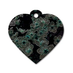 Glowing Flowers In The Dark C Dog Tag Heart (Two Sides)