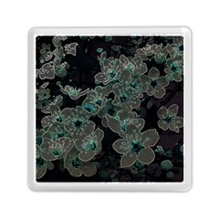 Glowing Flowers In The Dark C Memory Card Reader (Square)