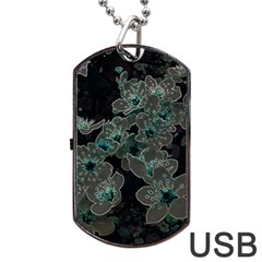 Glowing Flowers In The Dark C Dog Tag USB Flash (Two Sides)