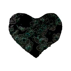 Glowing Flowers In The Dark C Standard 16  Premium Flano Heart Shape Cushions