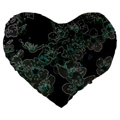 Glowing Flowers In The Dark C Large 19  Premium Flano Heart Shape Cushions