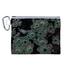 Glowing Flowers In The Dark C Canvas Cosmetic Bag (L)