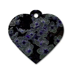 Glowing Flowers In The Dark B Dog Tag Heart (Two Sides)