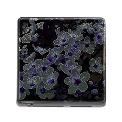 Glowing Flowers In The Dark B Memory Card Reader (Square)