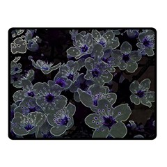Glowing Flowers In The Dark B Double Sided Fleece Blanket (Small)