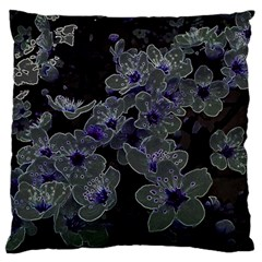 Glowing Flowers In The Dark B Large Flano Cushion Case (Two Sides)