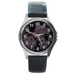 Glowing Flowers In The Dark A Round Metal Watch