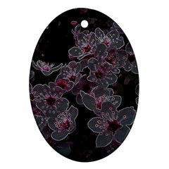 Glowing Flowers In The Dark A Ornament (Oval)