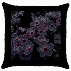 Glowing Flowers In The Dark A Throw Pillow Case (Black)