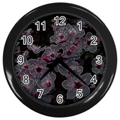 Glowing Flowers In The Dark A Wall Clocks (Black)