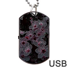 Glowing Flowers In The Dark A Dog Tag USB Flash (Two Sides)