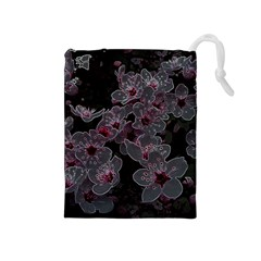 Glowing Flowers In The Dark A Drawstring Pouches (Medium)