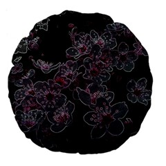 Glowing Flowers In The Dark A Large 18  Premium Flano Round Cushions