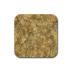 Cracked Skull Bone Surface A Rubber Square Coaster (4 pack)