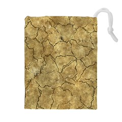 Cracked Skull Bone Surface A Drawstring Pouches (Extra Large)