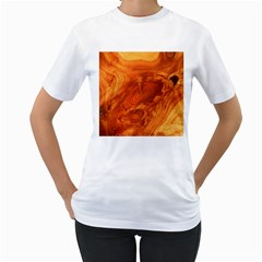 Fantastic Wood Grain Women s T-Shirt (White) (Two Sided)