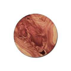 Fantastic Wood Grain,brown Rubber Coaster (Round)