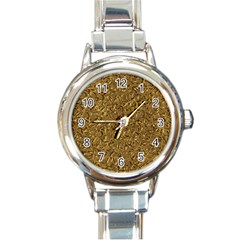 Sparkling Metal Art A Round Italian Charm Watch