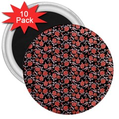 Roses pattern 3  Magnets (10 pack)