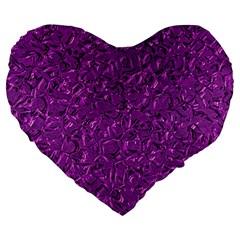 Sparkling Metal Art F Large 19  Premium Flano Heart Shape Cushions