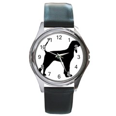Black And Tan Coonhound Silo Black Round Metal Watch