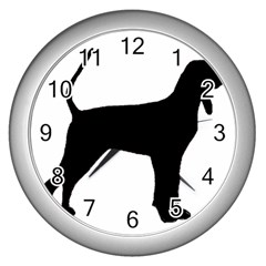 Black And Tan Coonhound Silo Black Wall Clocks (Silver)