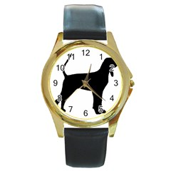 Black And Tan Coonhound Silo Black Round Gold Metal Watch