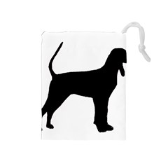 Black And Tan Coonhound Silo Black Drawstring Pouches (Medium)