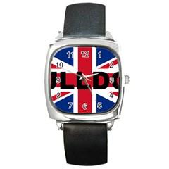 Bulldog England United Kingdom Name Flag Square Metal Watch