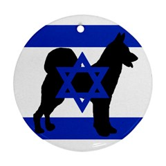 Cannan Dog Silhouette Flag Of Israel Ornament (Round)