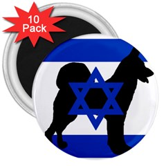 Cannan Dog Silhouette Flag Of Israel 3  Magnets (10 pack)