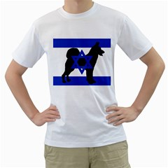 Cannan Dog Silhouette Flag Of Israel Men s T-Shirt (White) (Two Sided)
