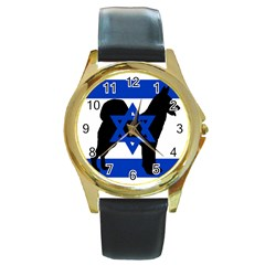 Cannan Dog Silhouette Flag Of Israel Round Gold Metal Watch