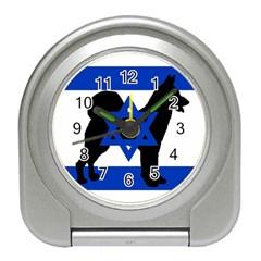 Cannan Dog Silhouette Flag Of Israel Travel Alarm Clocks