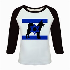 Cannan Dog Silhouette Flag Of Israel Kids Baseball Jerseys