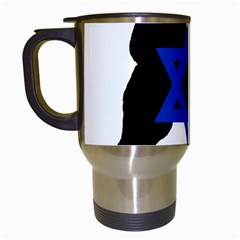Cannan Dog Silhouette Flag Of Israel Travel Mugs (White)