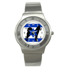 Cannan Dog Silhouette Flag Of Israel Stainless Steel Watch
