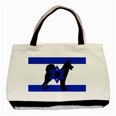 Cannan Dog Silhouette Flag Of Israel Basic Tote Bag (Two Sides)