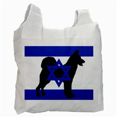 Cannan Dog Silhouette Flag Of Israel Recycle Bag (Two Side)