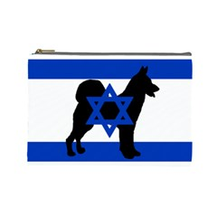 Cannan Dog Silhouette Flag Of Israel Cosmetic Bag (Large)