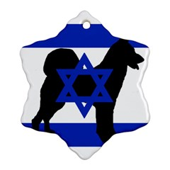 Cannan Dog Silhouette Flag Of Israel Ornament (Snowflake)
