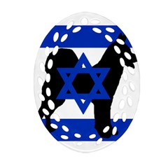 Cannan Dog Silhouette Flag Of Israel Ornament (Oval Filigree)