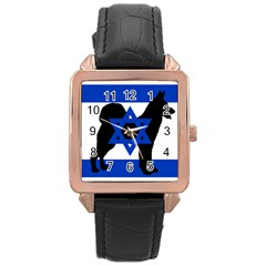 Cannan Dog Silhouette Flag Of Israel Rose Gold Leather Watch