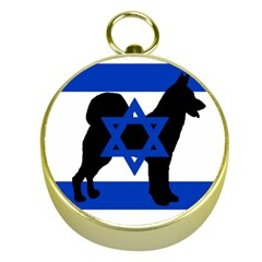 Cannan Dog Silhouette Flag Of Israel Gold Compasses